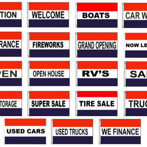 Red, White, Blue, Message Flags 3'x5′
